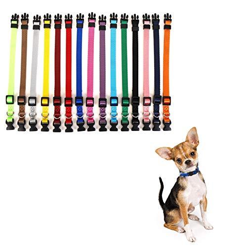 LOMYLM 15 collari per cuccioli regolabili da 17,5 cm a 26 cm, collari per cani di piccola taglia, in nylon per cuccioli neonati a 10 settimane, 15 colori