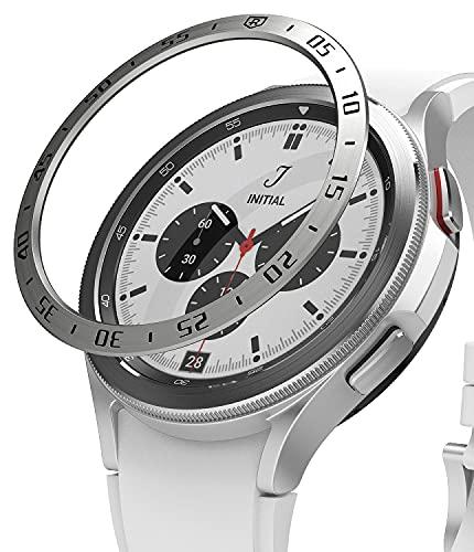 Ringke Bezel Styling Compatible con Protector Samsung Galaxy Watch 4 Classic (46mm) Carcasa Adhesiva Acero Inoxidable para Reloj Bisel, Funda Galaxy Watch 4 Classic 46mm - 46-01 (ST) Silver