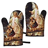 gong Guardian Angel with Children on Bridge Cactus Potting Oven Mitts, Heat Resistant Waterproof Kitchen Oven Gloves for Cooking BBQ Baking(1 Pair)