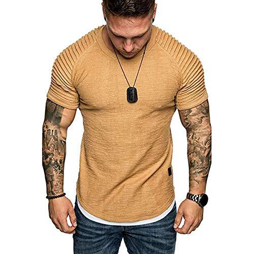 HHKX100822 Athletic Fashion Cotton T-Shirt FüR Herren, Basic Kurzhals-T-Shirt Mit Rundhalsausschnitt Und Einfarbigem Oberteil XXXL Khaki
