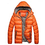 WOCACHI Mens Down Jackets Puffer Coat Detachable Hooded Thicken Outwear Overcoat Winter Autumn Parka Quilted Cotton Puffer Coats Big (Orange, Large)