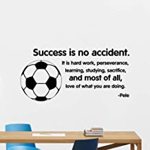 wygajdie Success is No Accident Wall Decal Pele Quote Soccer Poster Home Gym Sport Vinyl Sticker Playroom Kids Room Decor Art Mural 57x116cm
