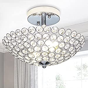 POPILION 2 Light Crystal Ceiling Mini Chandelier Light Fixture, Bowl Shape Semi Flush Mount Silver Finish, Foyer Light Suitable for Bedroom, Living Room