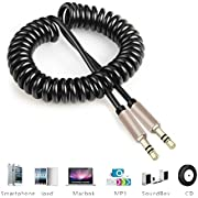 LUPO 3.5mm Coiled Aux Cable - Audio Stereo for Car Jack - Male to Male - iPhone, Smartphones - 1m Gold Plated