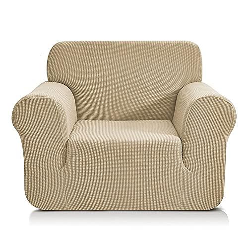 FENFANGAN Fundas para Sofa de Forro Polar para Sala de Estar,Fundas de sillones, Fundas Sofa elasticas Universal,Adecuada para la mayoría de los sofás,Fácil de cuidar (Beige,2seater 135-175cm)