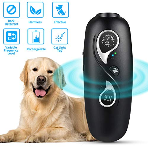 iSkey Dog Barking Control Deterrent Devices, Ultrasonic Dog Bark Deterrent,3 in 1 Cat Light Toys and Variable Frequency Dog Trainer...