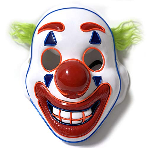 Luckylife Máscara Joker Halloween Máscara LED Light Up de Festival Cosplay Payaso Mascarada Disfraces Máscara Plástico de Cara Completa para Adulto