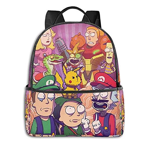 Mochila divertida Super Mario Rick Morty de dibujos animados casual mochila escolar al aire libre ligera resistente a desgarros portátil mochilas niñas niños adultos mochila