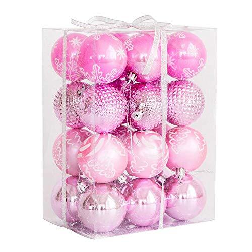 Christmas Tree Plastic Baubles Xmas Balls Decoration Shatterproof Christmas Balls Decoration Blue/Pink (Color : Pink 6cm-24pcs)