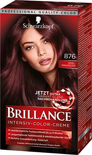 Schwarzkopf Brillance Intensiv-Color-Creme, 876 Edelmahagoni Stufe 3, 3er Pack (3 x 143 ml)