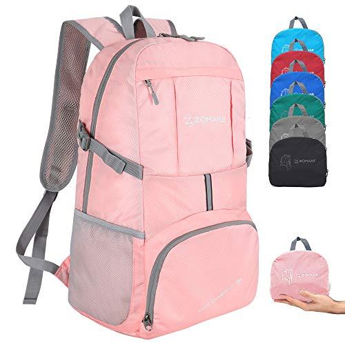 ZOMAKE Zaino Ripiegabile 35L, Zaino Leggero Pieghevole - Zainetto Impermeabile per Uomo Donna Hiking Viaggio Trekking Città Sportivo (Rosa Corallo)