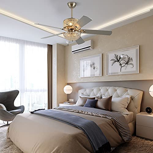 Amazon Com 52 Crystal Ceiling Fan With Lights And Remote Control 5 Wood Blades For Living Room Bedroom Decoration Silver Crystal Kitchen Dining