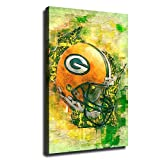 Green Bay Packers Helmet Logo Canvas Wall Art Poster Living Room Large Size Bedroom Print Painting Picture Artwork (20x30inch,Wooden Framed)