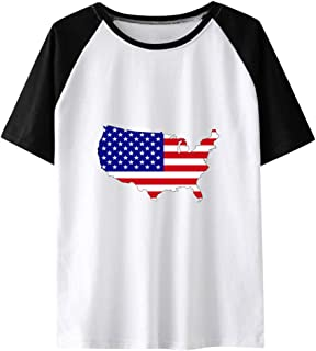 American Independence Day T-Shirt, Sharemen Women's Casual Paneling Short-Sleeve T-Shirt American Flag Printed Fashion Top