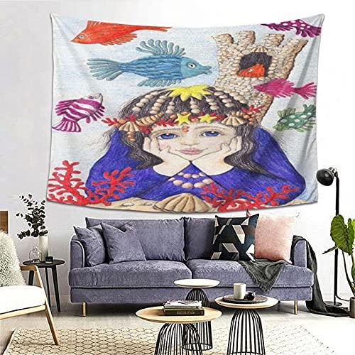 PATINISA Tapiz de Regalo,Ilustración de la Sirenita,Tapiz Bohemio diseño para Colgar en la Pared,Sala de Estar Dormitorio 80x60in