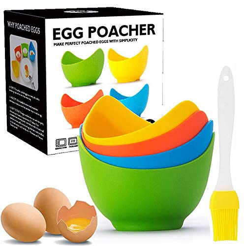 Egg Poacher - Poached Egg Cooker with Ring Standers, Food Grade Non Stick Silicone Egg Poaching Cup for Microwave or Stovetop Egg Poaching, with Extra Silicone Oil Brush, BPA Free, 4 Pack
