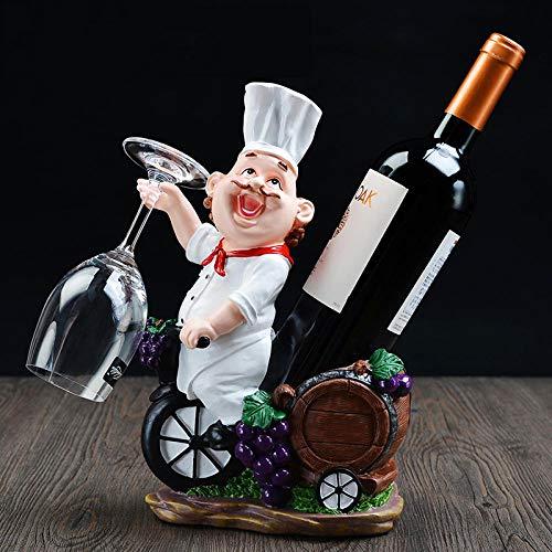 ykxykw Resin Chef Weinregal Weinständer Koch Weinflaschenhalter Home Bier Ornamente Regal Handwerk Handwerk Regal für Party