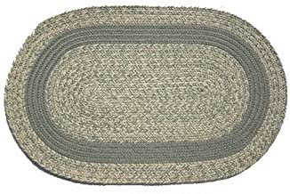 product image for Oval Braided Rug (5'x7'): Oatmeal Moss,- Moss Band