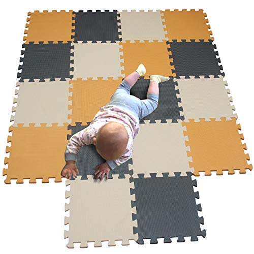 MQIAOHAM tapis de sol puzzle tapis mousse bebe jeu enfant aire de jeux pour puzzle multicolores enfants baby mat à ramper activite épais puzzle mat baby à ramper Orange Beige Gris 102110112