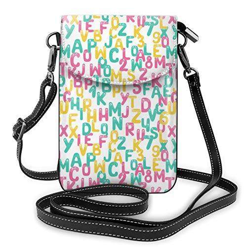 Borse a tracolla da donna - Portafoglio piccolo per cellulare con alfabeto divertente con fessure per carte di credito