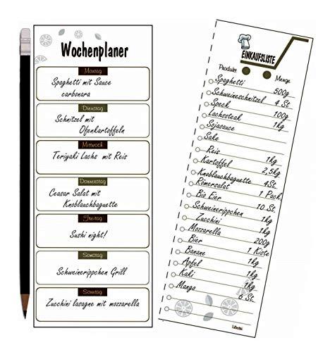 Libetui Wochenplaner mit Shoppinglist Essenplaner Einkaufsliste to do Liste, Magnetischer Menüplaner, Notizblock Kühlschrankblock DIN A5 Motiv Kaffee