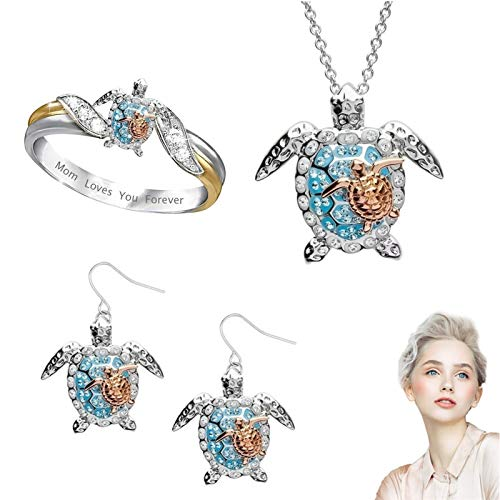 Turtle Statement Ring Mother's Day - Ocean Turtle Jewelry Rings Necklace Earrings Set for Women, Alloy Animal Tortoise Owl Cute Simple Pendant Beach Sea Theme Decor as Gifts for Mom