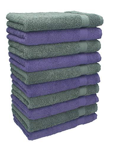 Betz Lot de 10 Serviettes débarbouillettes lavettes Taille 30x30 cm en 100% Coton Premium Couleur Violet et Gris Anthracite