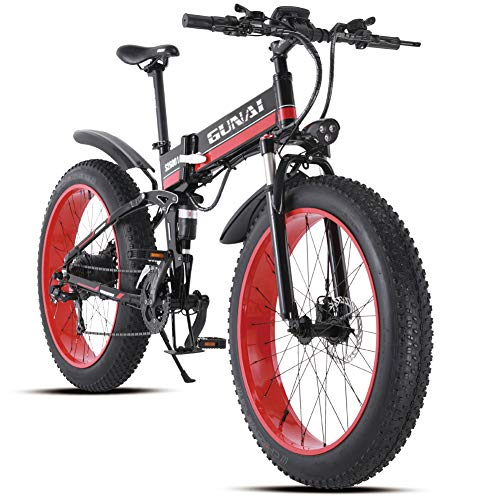 GUNAI 26 Inches Electric Snow Bike 1000W 48V Folding Fat Tire Mountain Bike MTB 21 Speed E-bike Pedal Assist Hydraulic Disc Brake