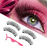 magnetic eyelashes, magnetic lashes, New upgraded triple magnet eyelashes, 3D fiber lashes Natural look, No glue, easy to wear and Reusable (4pcs and applicator)