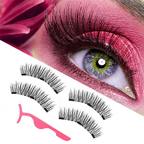 magnetic eyelashes, magnetic lashes, New upgraded triple magnet eyelashes, 3D fiber lashes Natural look, No glue, easy to wear and Reusable (1 pair and 1 applicator)