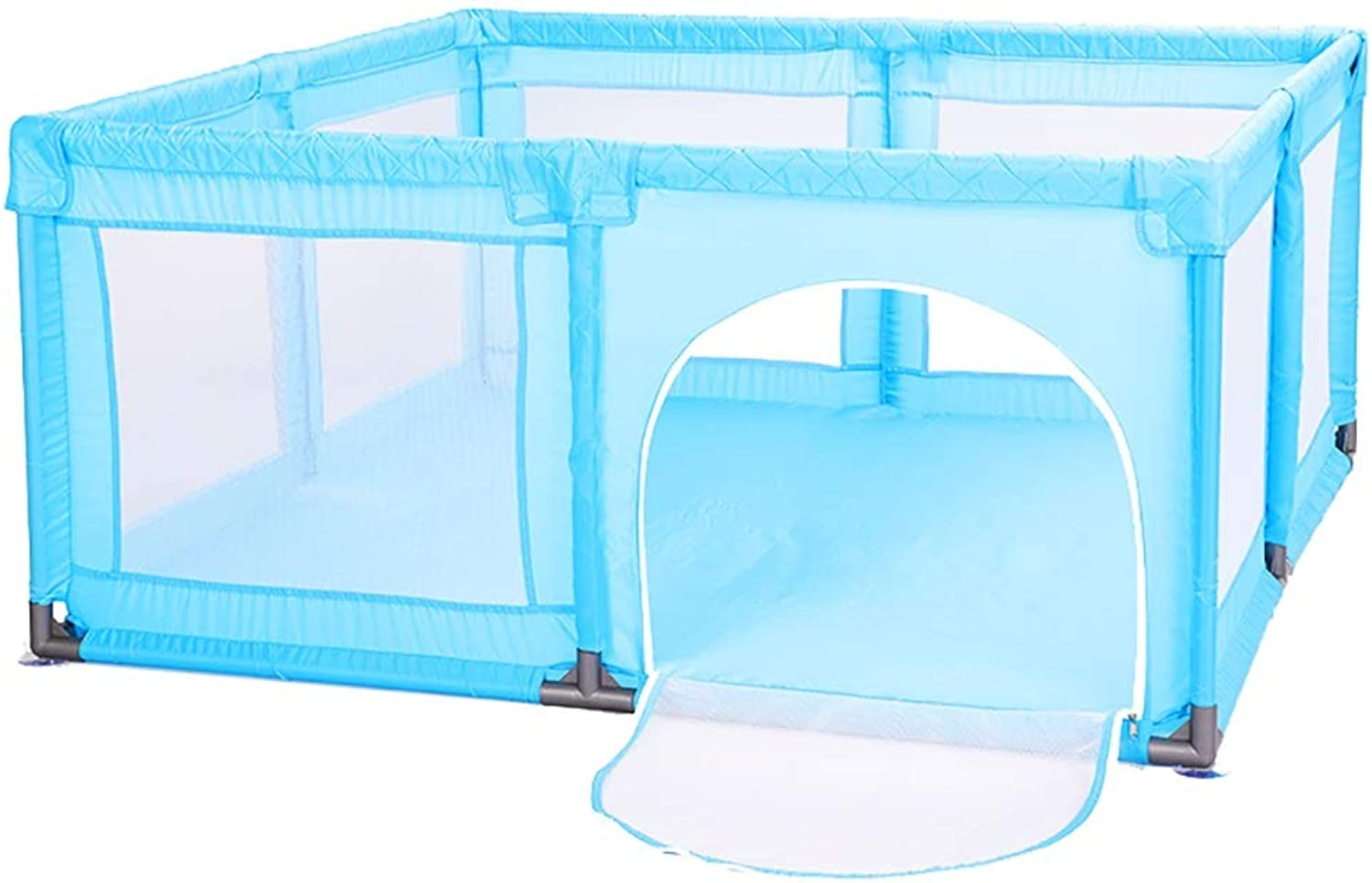 Safety Baby Playpen with Door, Anti-Collision Toddlers Mesh Playard with Sucker, Stable Play Fence for Nursery Center, 150×150×70 cm (color   bluee)