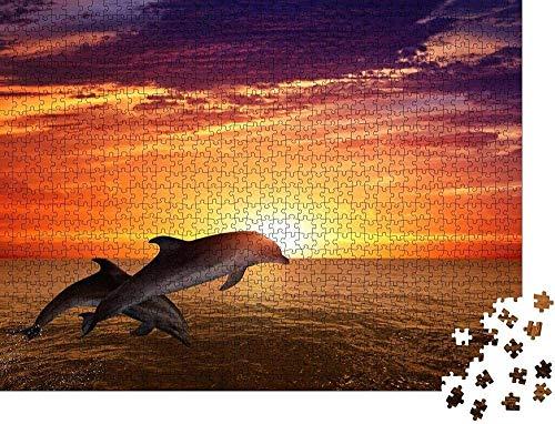 500 piezas de rompecabezas para adultos con fondo de delfines saltadores de vida marina, hermosa puesta de sol roja en el mar, juego de rompecabezas de arte familiar