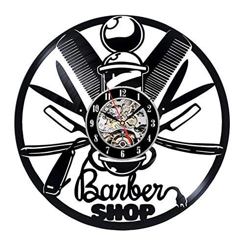 Coiffeur Barber Shop salon vinyle record horloge murale coiffeurs, stylistes, barbiers, salon décoration murale,Black,12inches