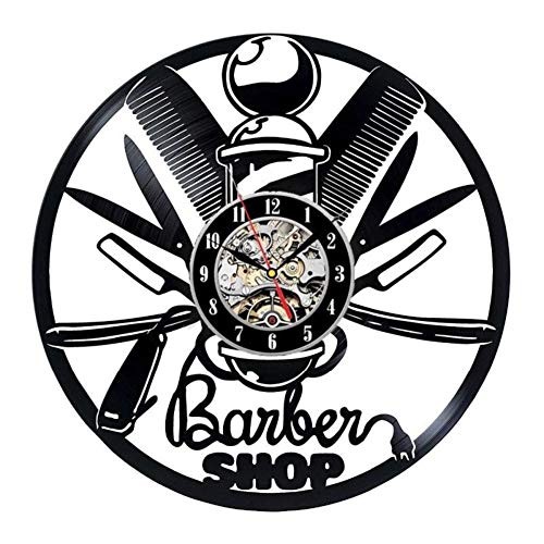 Coiffeur Barber Shop salon vinyle record horloge murale coiffeurs, stylistes, barbiers, salon décoration murale,Black,12inches