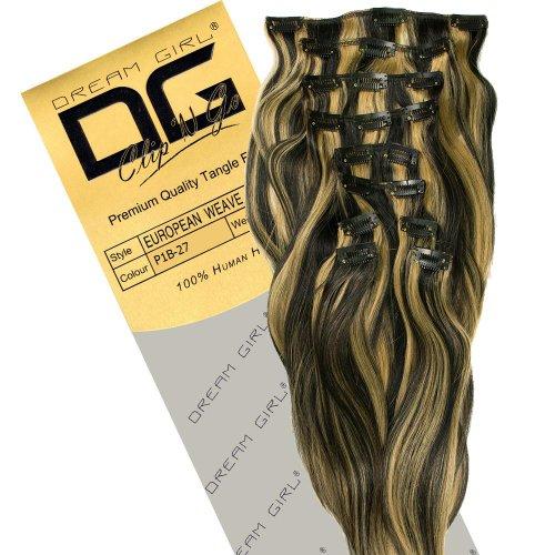 Dream Girl Extensions de cheveux à clipser Couleur 1B/27 35 cm