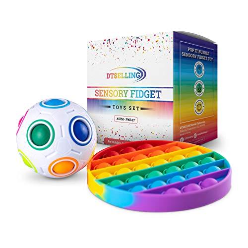 Sensory Fidget Toys Set - Pop It Bubble & Magic Ball, Fidget Popper Toy Anxiety Stress Reliever, Pop...