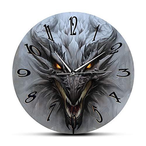 Cwanmh Reloj de Pared Dragón Arte de Pared Paisaje de fantasía Moderno Reloj de Pared mitología Monstruo Grifo Reloj silencioso Reloj de Pared Arte Interior decoración Interior30 x 30 cm