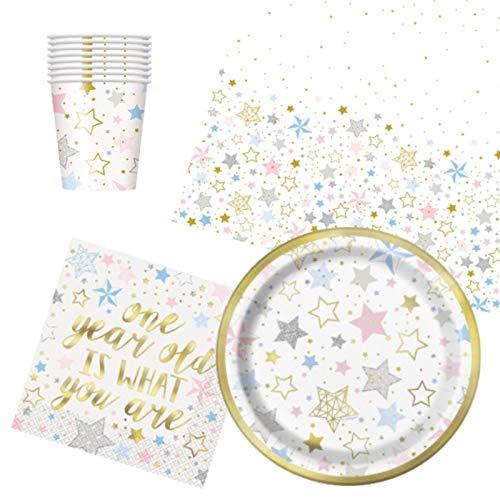 Twinkle Twinkle Little Star - Vajilla de 1er cumpleaños para 8 unidades