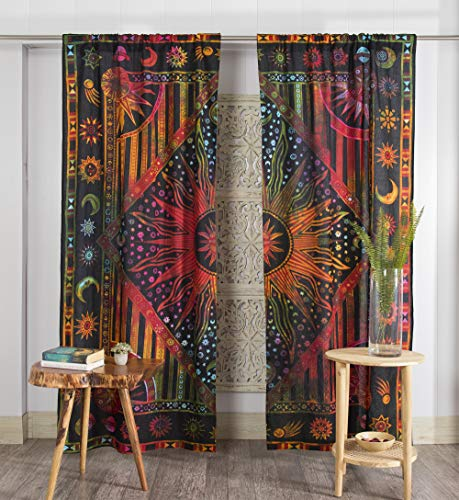 Popular Handicrafts Indian Burning Sun Hippie Mandala Window Curtains - Gypsy Tye Dye Bohemian Sun Moon Beautiful Drapery Bedroom Living Room Balcony Valance Panels Golden