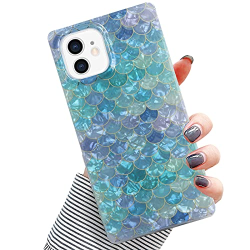 PERRKLD Compatible iPhone 12 Case iPhone 12 Pro Case Square, Plating Dream Blue Mermaid Scale Pattern Scale Square Shining Full Protection Glitter TPU Back Cover for iPhone 12/iPhone 12 Pro 6.1 in