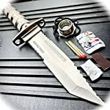 New 12' Inch Tactical Tanto Hunting Fixed Blade Pro Tactical Limited Knife Chrome Bowie + Survival Kit Camping Outdoor B-1020A by ProTacticalUS