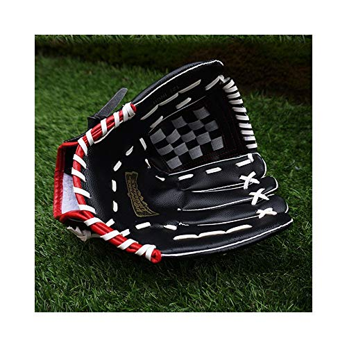 Safe Baseballhandschuh für die linke und rechte Hand, verstellbarer Kunstleder-Ballhandschuh (Color : Black)