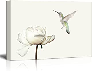 wall26 Canvas Wall Art - Hummingbird Flying Towards a Flower Petal - Giclee Print Gallery Wrap Modern Home Decor Ready to Hang - 24x36 inches