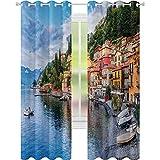 cortinas de ventana, Verano Village by the Mediterranean Sea with Yacht Boats Idyllic Town Panorama, W52 x L84 Cortinas para dormitorio, Multicolor