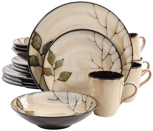 Gibson Elite Carolton Round Reactive Glaze Stoneware Dinnerware Set, Service for Four (16pcs), Cream/Green