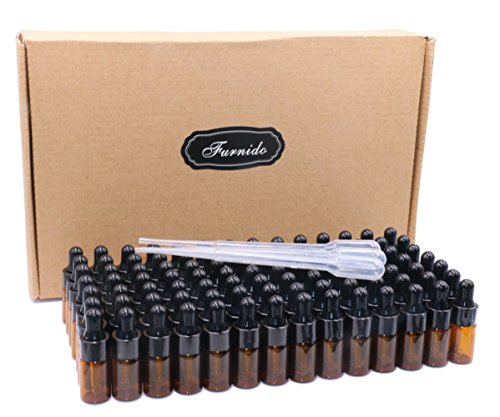 Pack of 100,3ml Amber Glass Dropper Bottle,Empty Sample Vial Glass Eye Dropper Aromatherapy Liquid Perfume Essential Oil Bottles with Glass pipette&Black Aluminum caps-Pipette&Funnel included