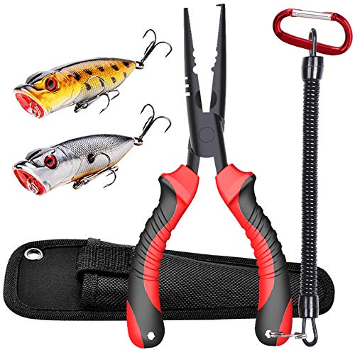 Product Image 1: JOOKKI Fishing Pliers,Fish plier Saltwater with Sheath Resistant Teflon Coating, Rubber Handle 7″ Cutthroat Boom Fishing Gear, Fish Pliers Hook Remover kit,(2 pcs) Bass Fishing Lures Kit Lifelike.