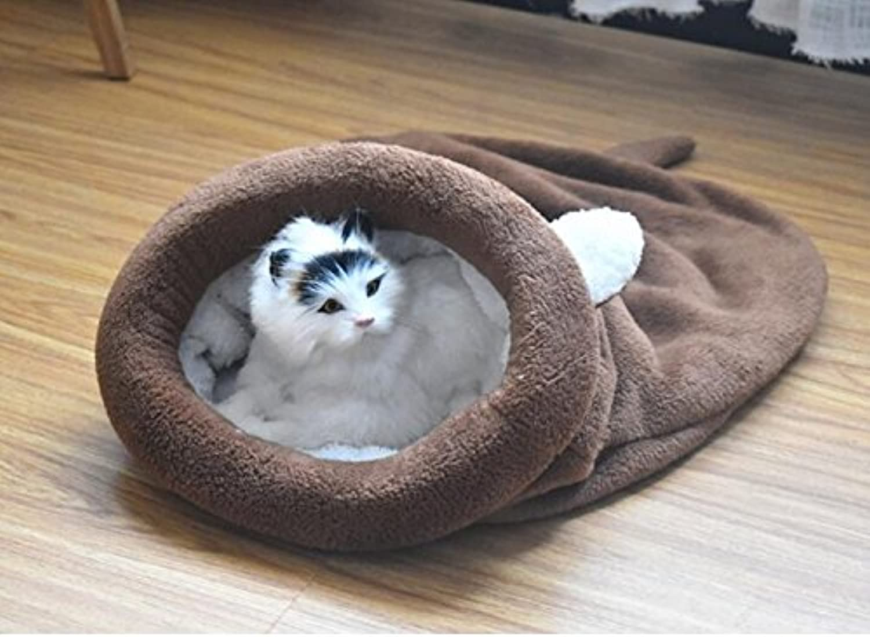 Cat Warmer Mat Cartoon Pet Sleeping Bag Nest Pet Cat Dog Cushion Coffee
