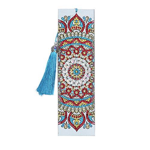 Museourstyty Segnalibri fai da te a forma di fiore speciale, segnalibro per bambini pittura a diamante, segnalibri ricamati per bambini 5D