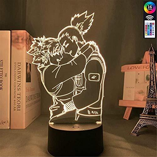 Lámpara LED de ilusión 3D, luz nocturna acrílica, luz nocturna, multicolor Shikamaru y Temari Lamp for Bedroom Decor Nightlight Kids Child Birthday Gift